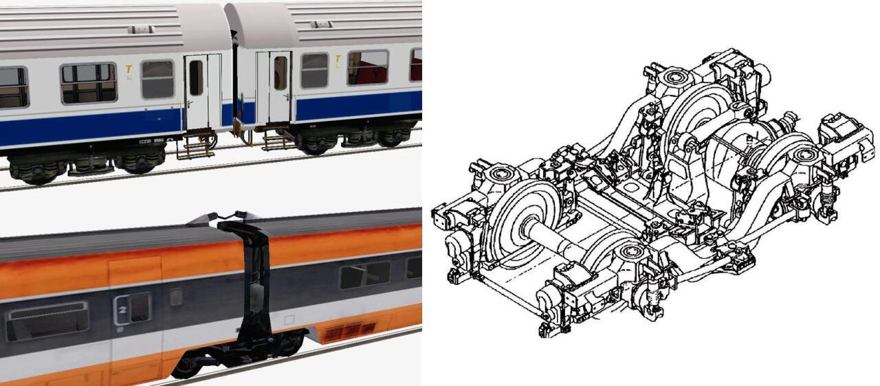 Tren klasikoa (ezkerrean, goian) eta tren artikulatua (ezkerrean, behean); bogiea (eskuinean)